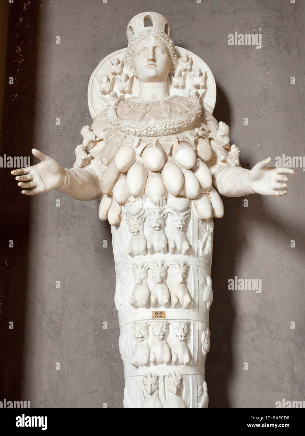 Marble Sculpture of female figure with goat and bull testicle motif in the vatican in Rome, Italy. Stock Photo