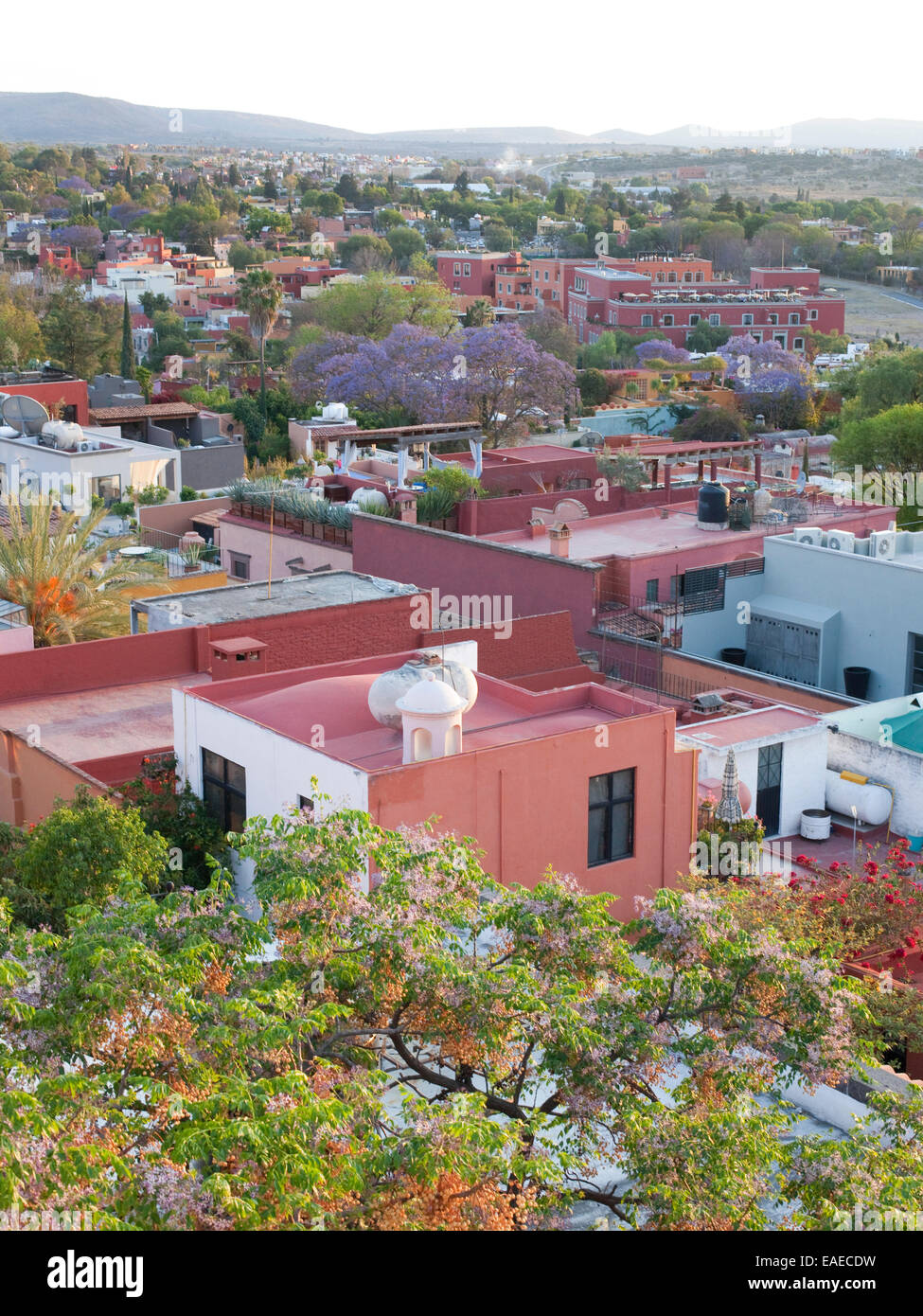 View of San Miguel de Allende, Mexico from above - Stock Image