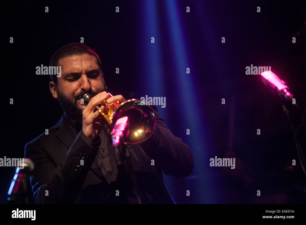 Ibrahim Maalouf a French-Lebanese trumpeter and and his band performed live at the 18th Jazz Fest Sarajevo in 2014. - Stock Image