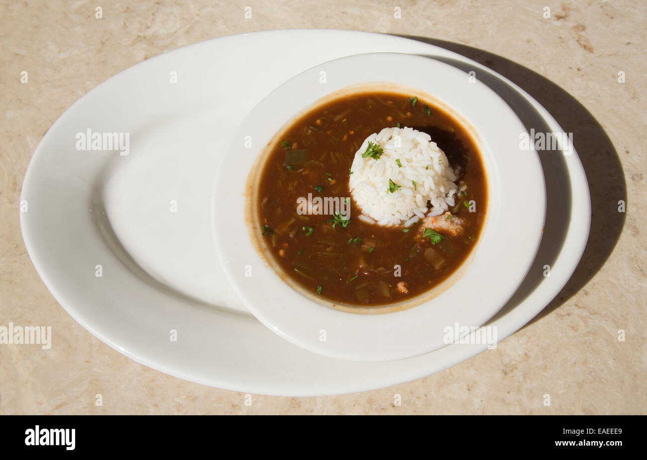 Creole cuisine Gumbo soup with rice New Orleans USA - Stock Image