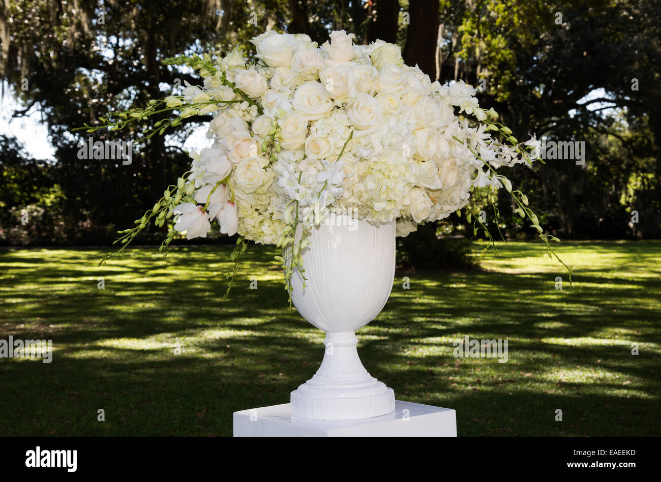 Arrangement Of Flowers In A Large Vase Situated Outdoors Stock Photo Alamy