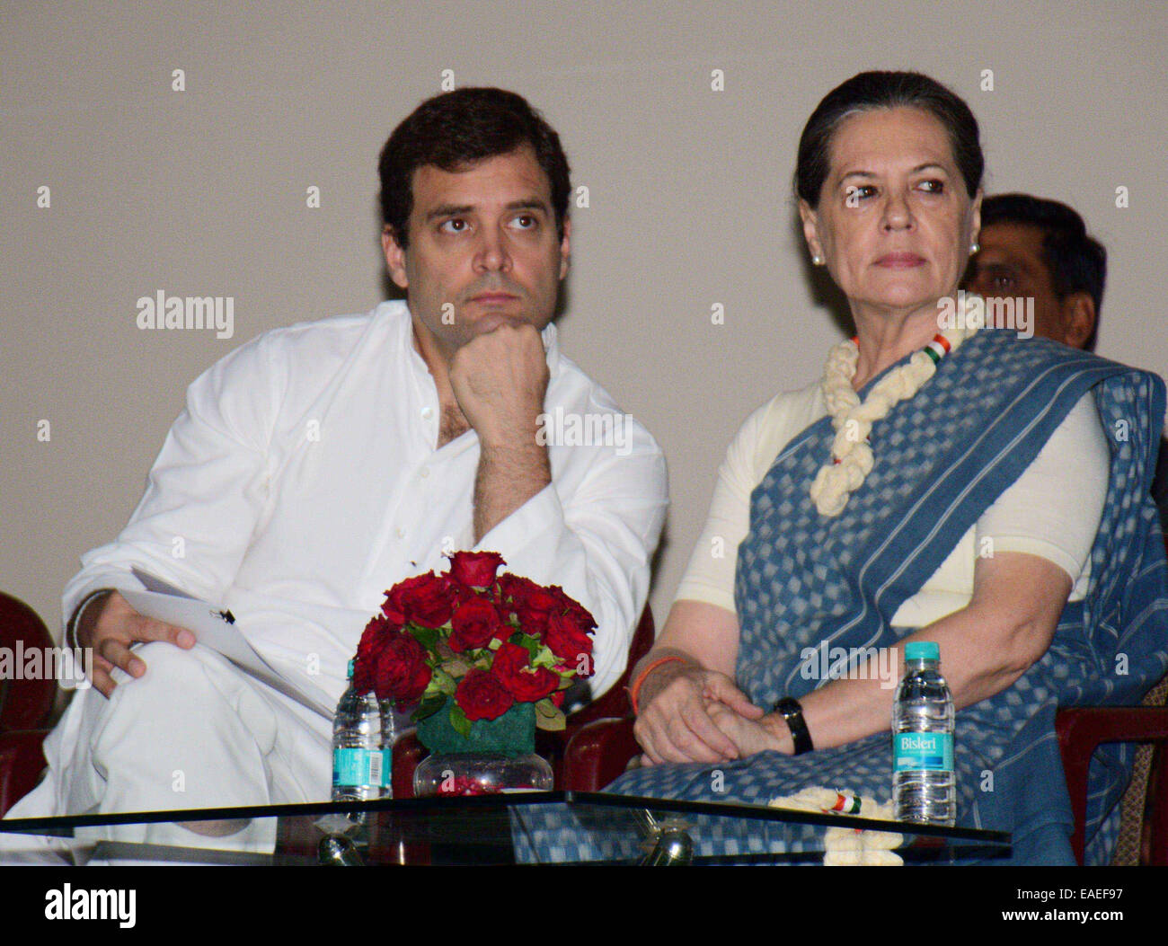New Delhi, India. 13th Nov, 2014. India's Congress party President Sonia Gandhi (R) and vice president Rahul Gandhi Stock Photo