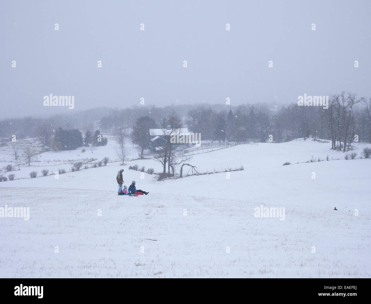 sleigh riders in country side - Stock Image