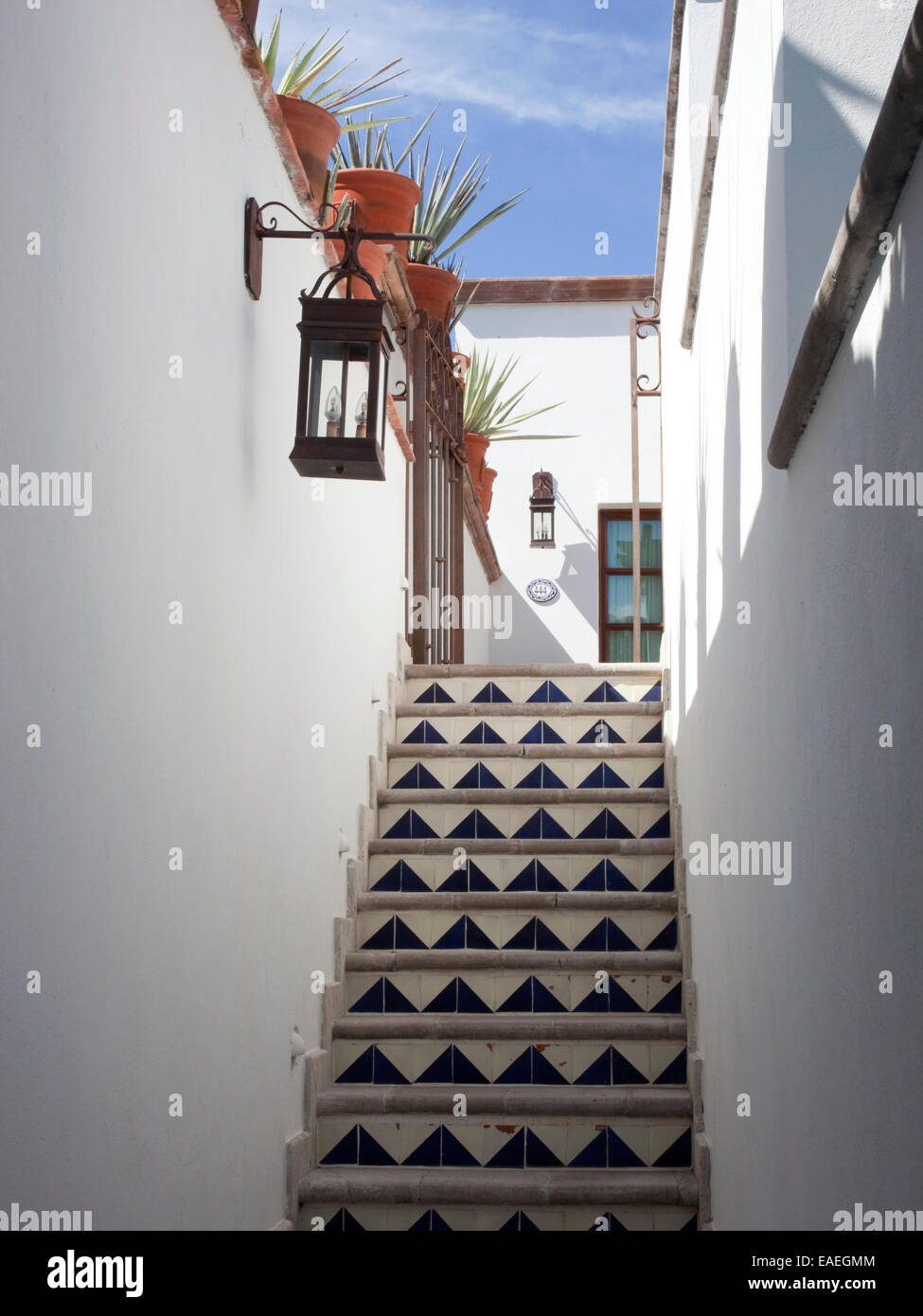 outdoor tile stair case of house in Mexico - Stock Image