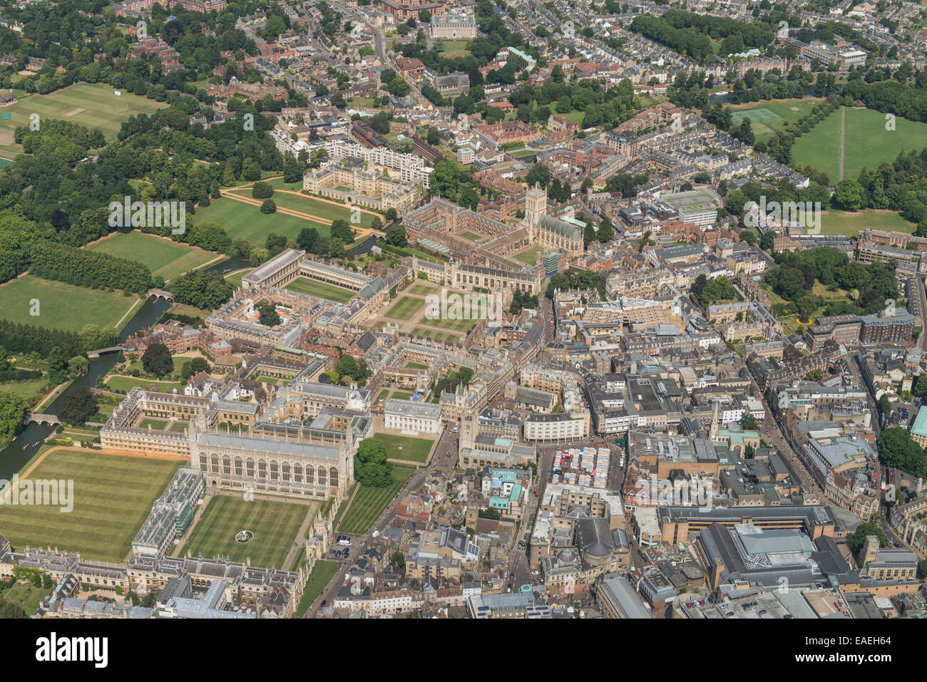 An aerial view of Cambridge showing some of the city centre and University buildings - Stock Image