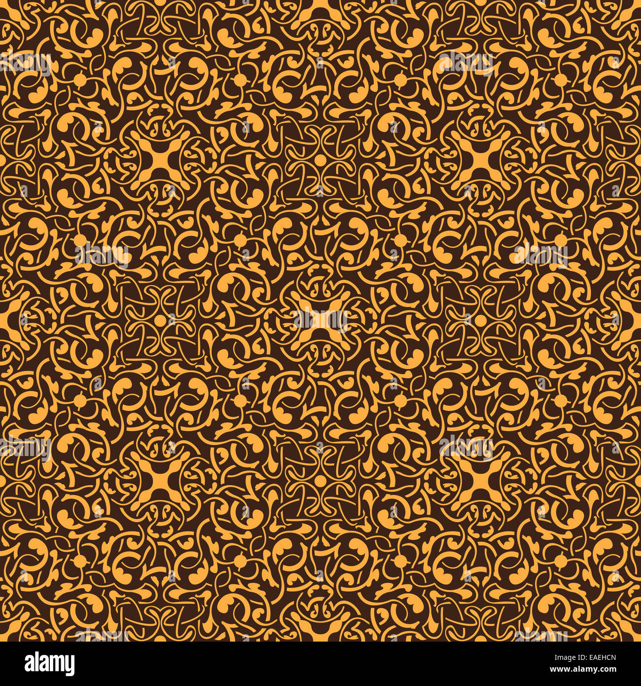 Yellow floral seamless wallpaper pattern vector illustration - Stock Image
