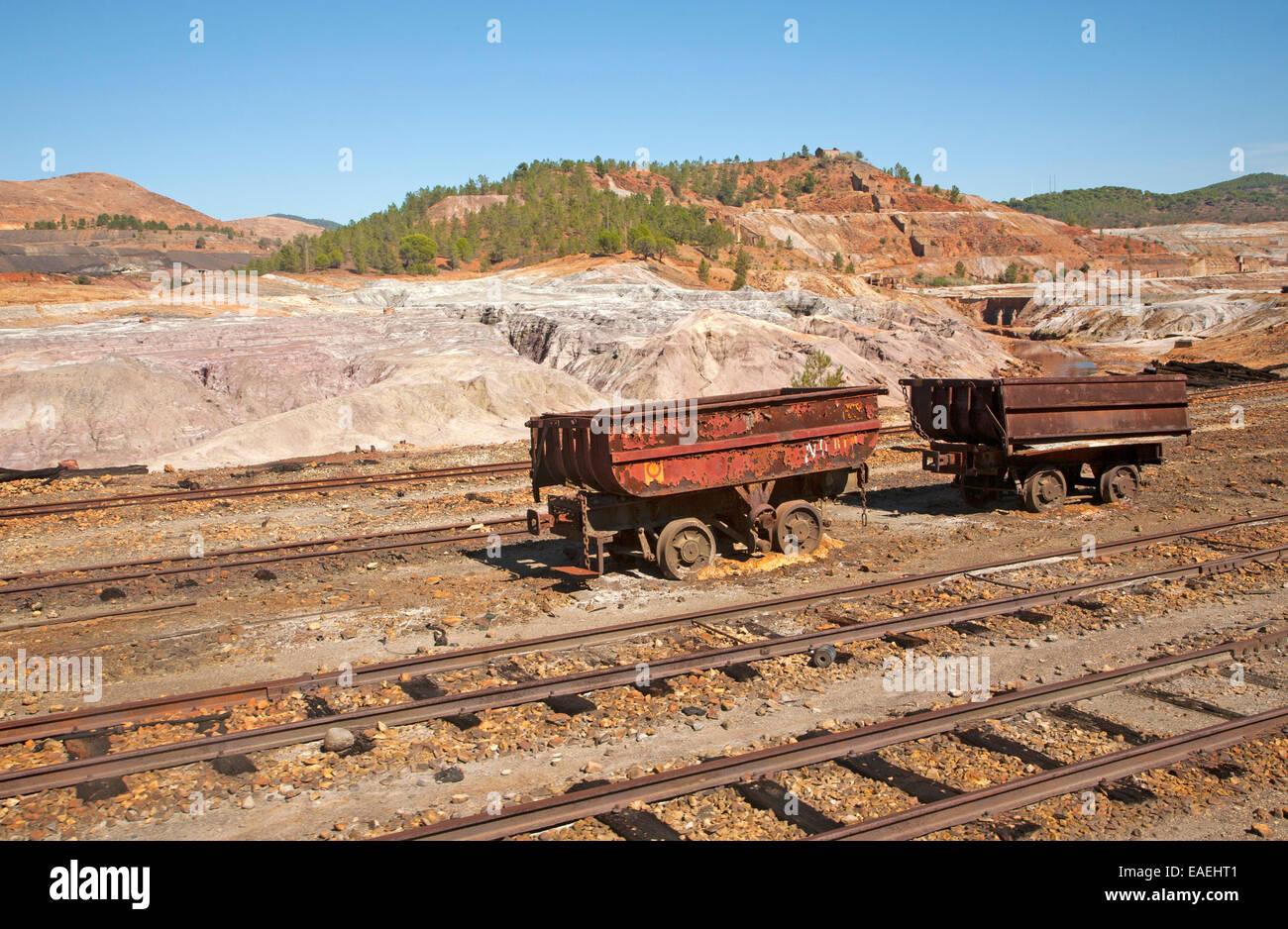 Old rusty abandoned railway rolling stock wagons in the Rio Tinto mining area, Minas de Riotinto, Huelva province, - Stock Image