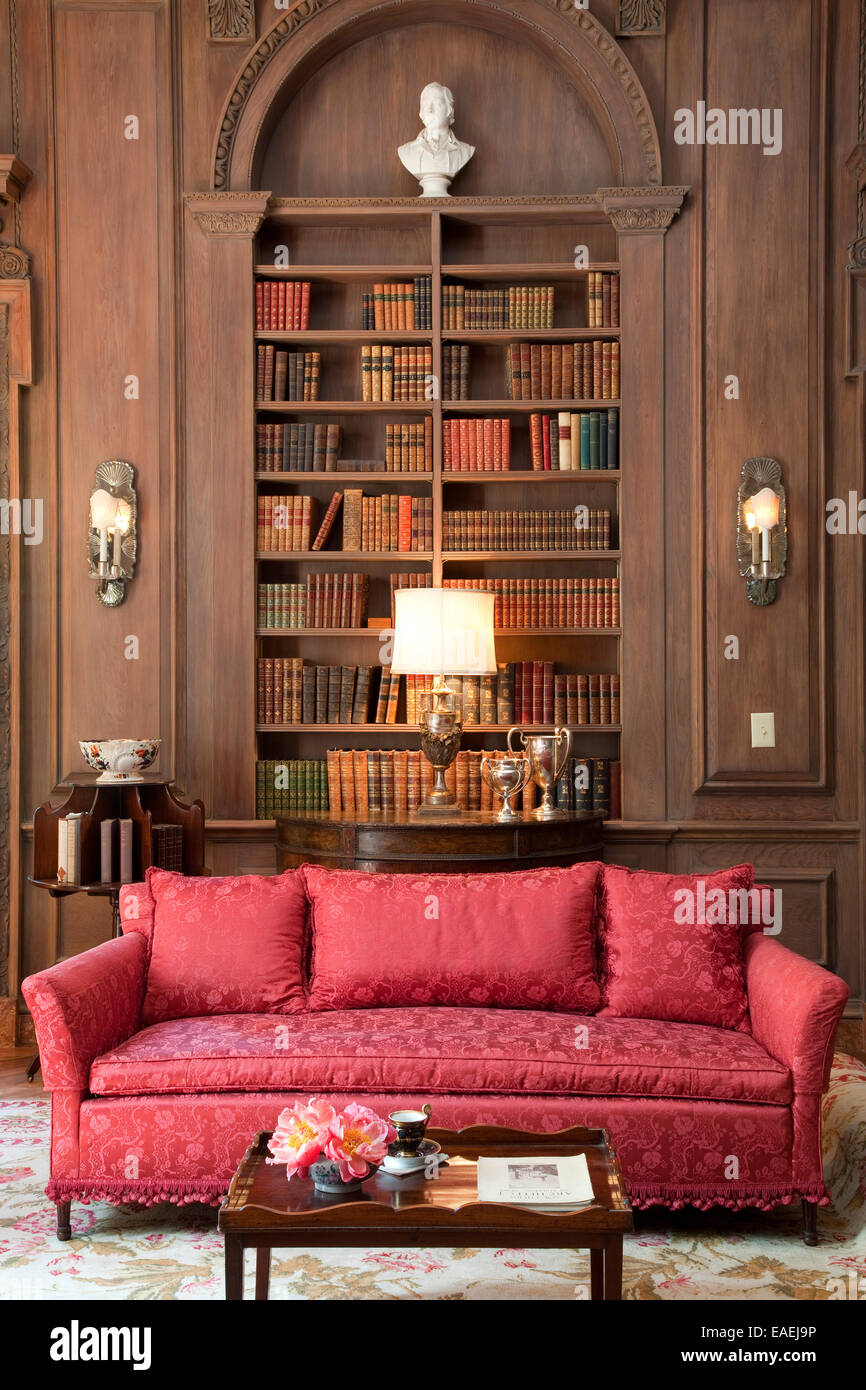 Couch and Library at Swan House, Atlanta, Georgia. - Stock Image