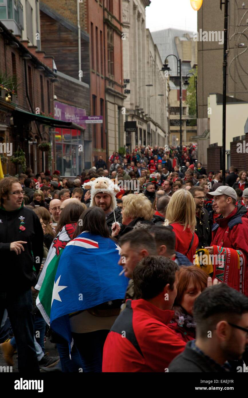 Pre-match atmosphere on the streets of Cardiff before the Wales v. Australia game during the series of autumn internationals. - Stock Image