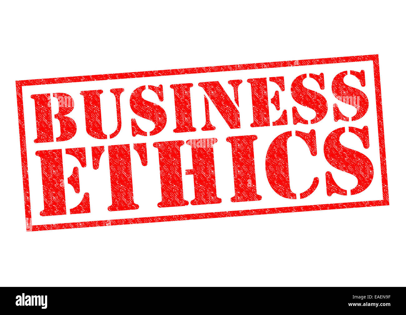 BUSINESS ETHICS red Rubber Stamp over a white background. - Stock Image