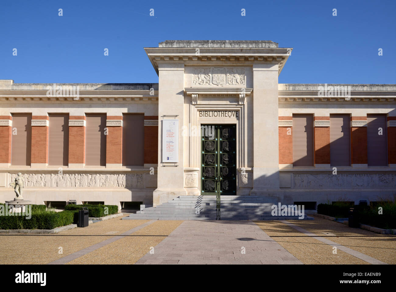 Art Deco Style 1930s Municipal Library or Public Library Building Toulouse France - Stock Image