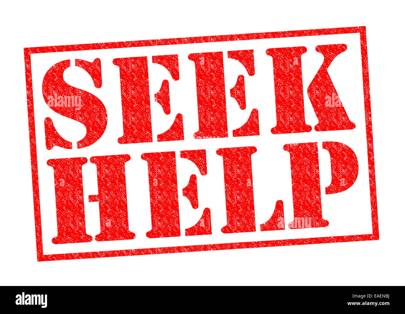 SEEK HELP red Rubber Stamp over a white background. - Stock Image