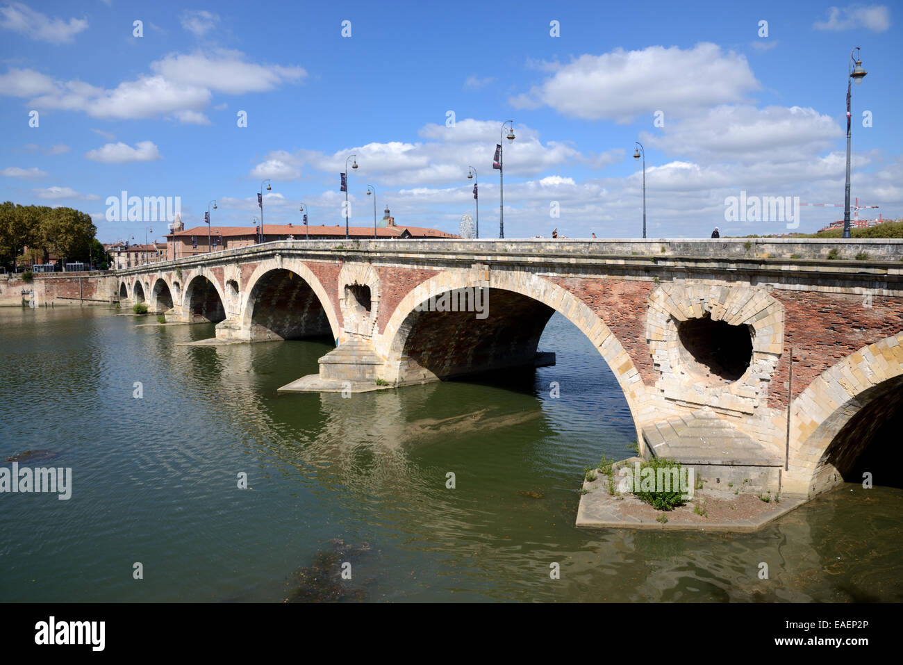 Pont Neuf or the New Bridge Crossing the River Garonne Toulouse France - Stock Image