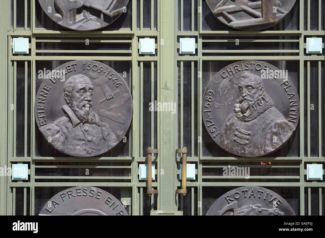 Portraits of French Printers Etienne Dolet (1509-1546) & Christophe Plantin (c1520-1589) 30s Art Deco Metalwork - Stock Image