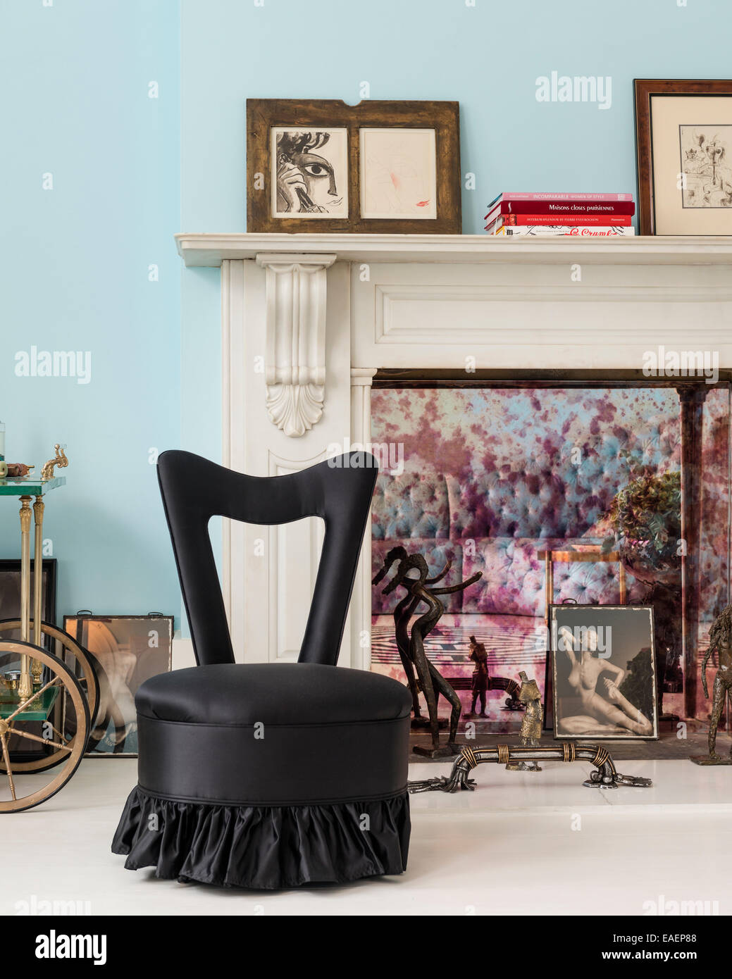 Black Silk Upholstered Chair In Front Of Original Marble Fireplace   Stock  Image