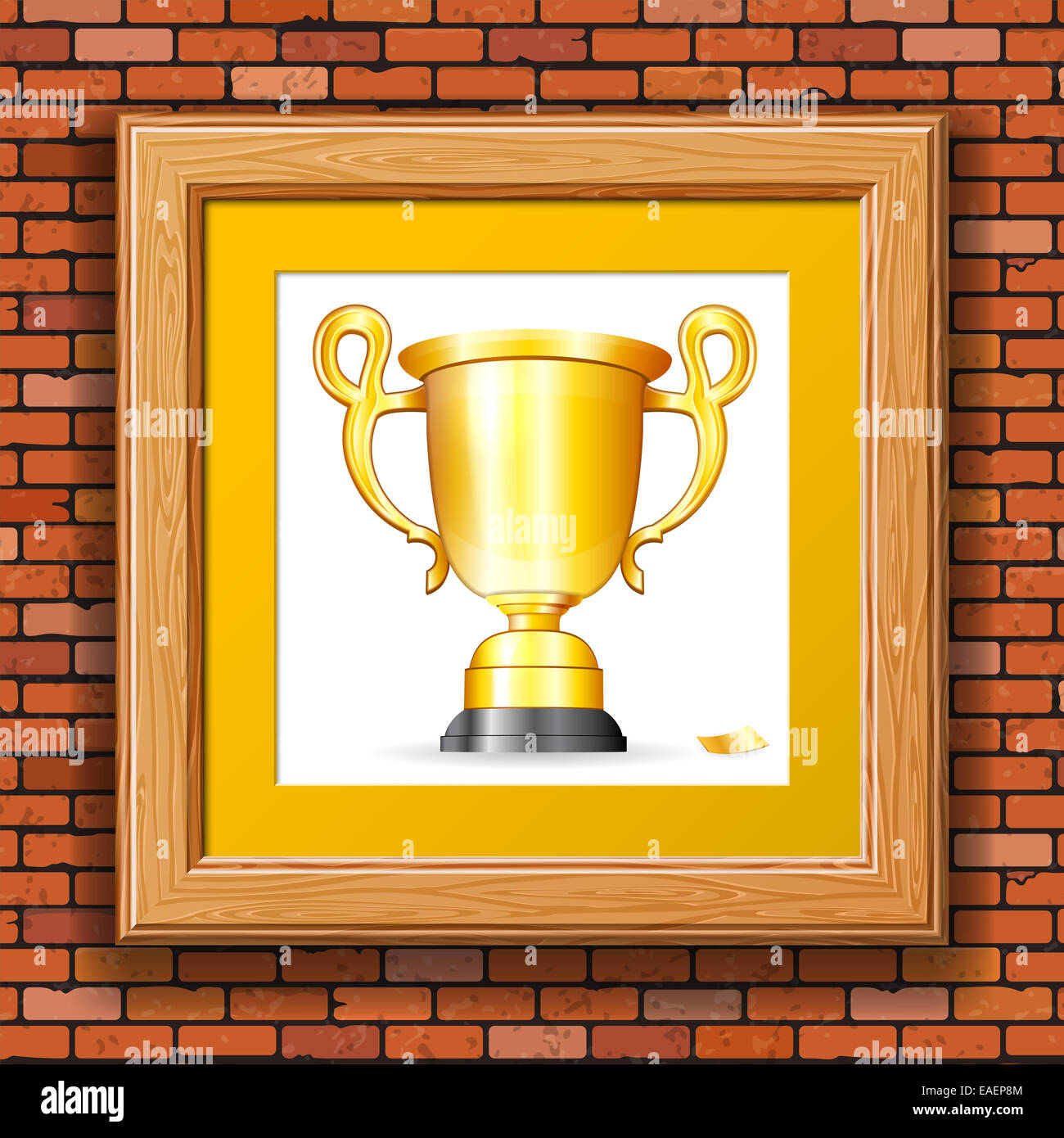 Brick Wall with Gold Prize Award in Wooden Frame. illustration Stock ...