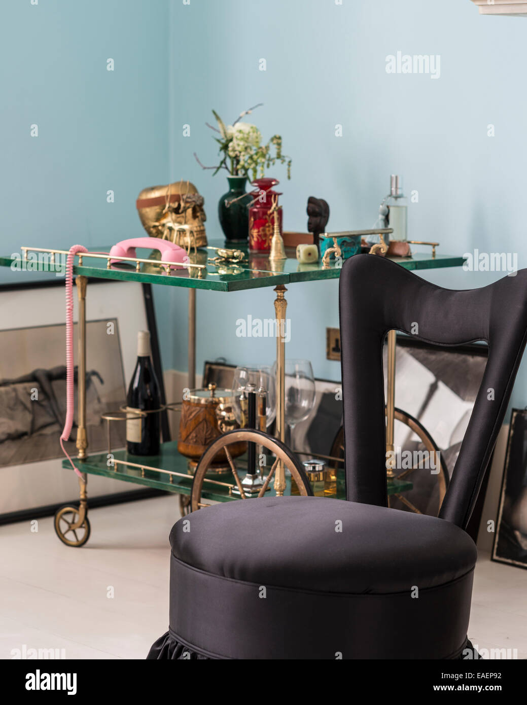 Black Silk Upholstered Chair In Front Of Malachite Drinks Trolley From  Samir Hadcheti   Stock Image