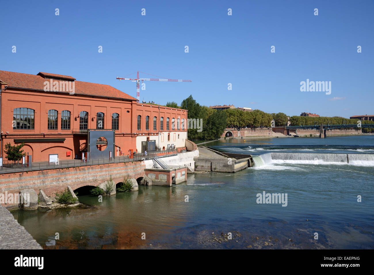 Bazacle Hydro-Electric Barrage or Dam on the River Garonne Toulouse France - Stock Image
