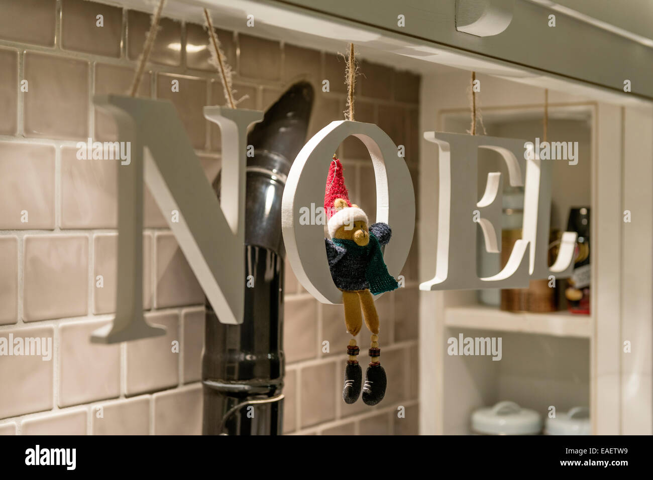 Wooden letters spelling out the word NOEL bought from John Lewis - Stock Image
