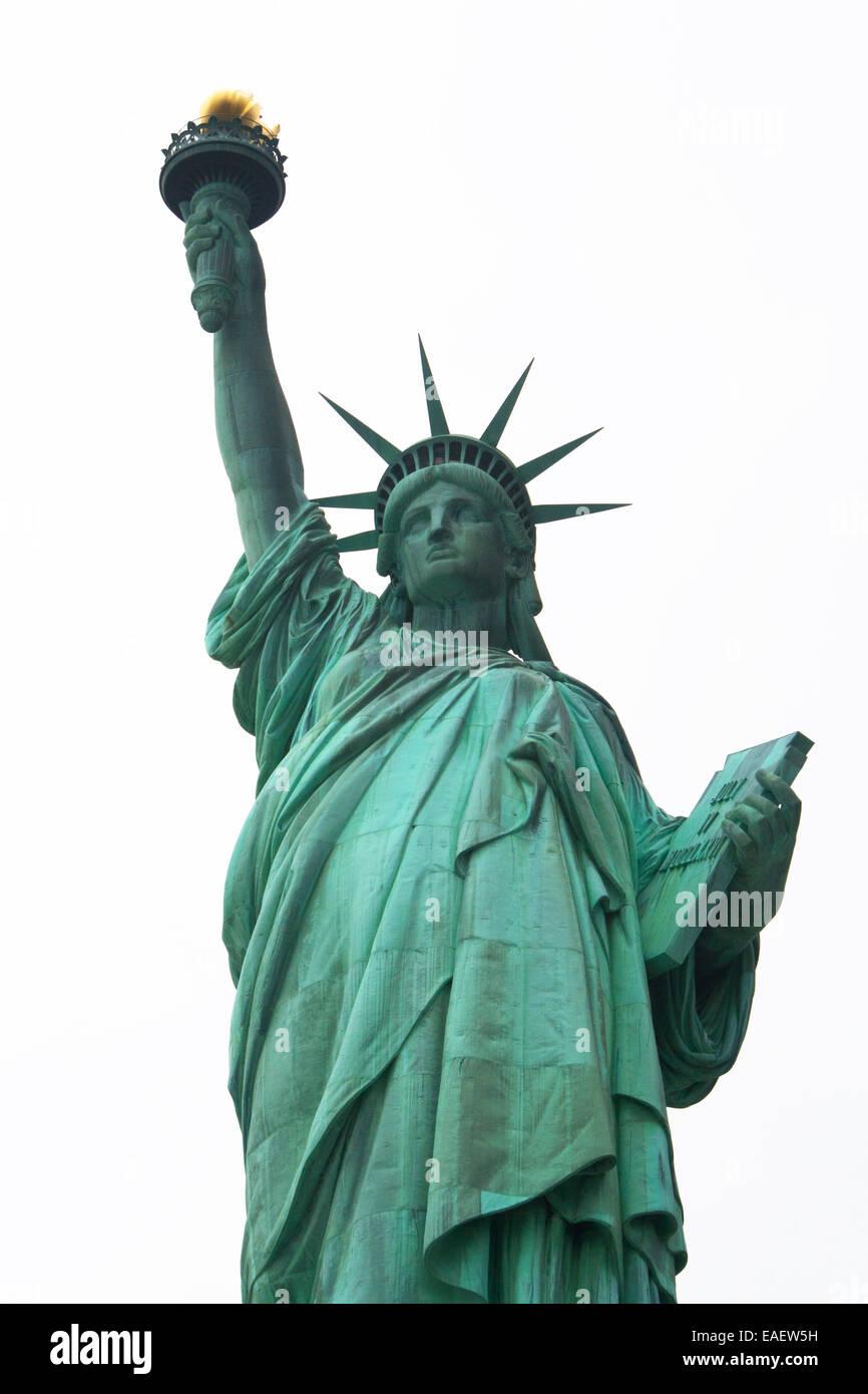 Freiheitsstatue Statue of Liberty New York Manhatten USA Architektur Wahrzeichen Beruehmt Amerika Attraktion Crown Stock Photo