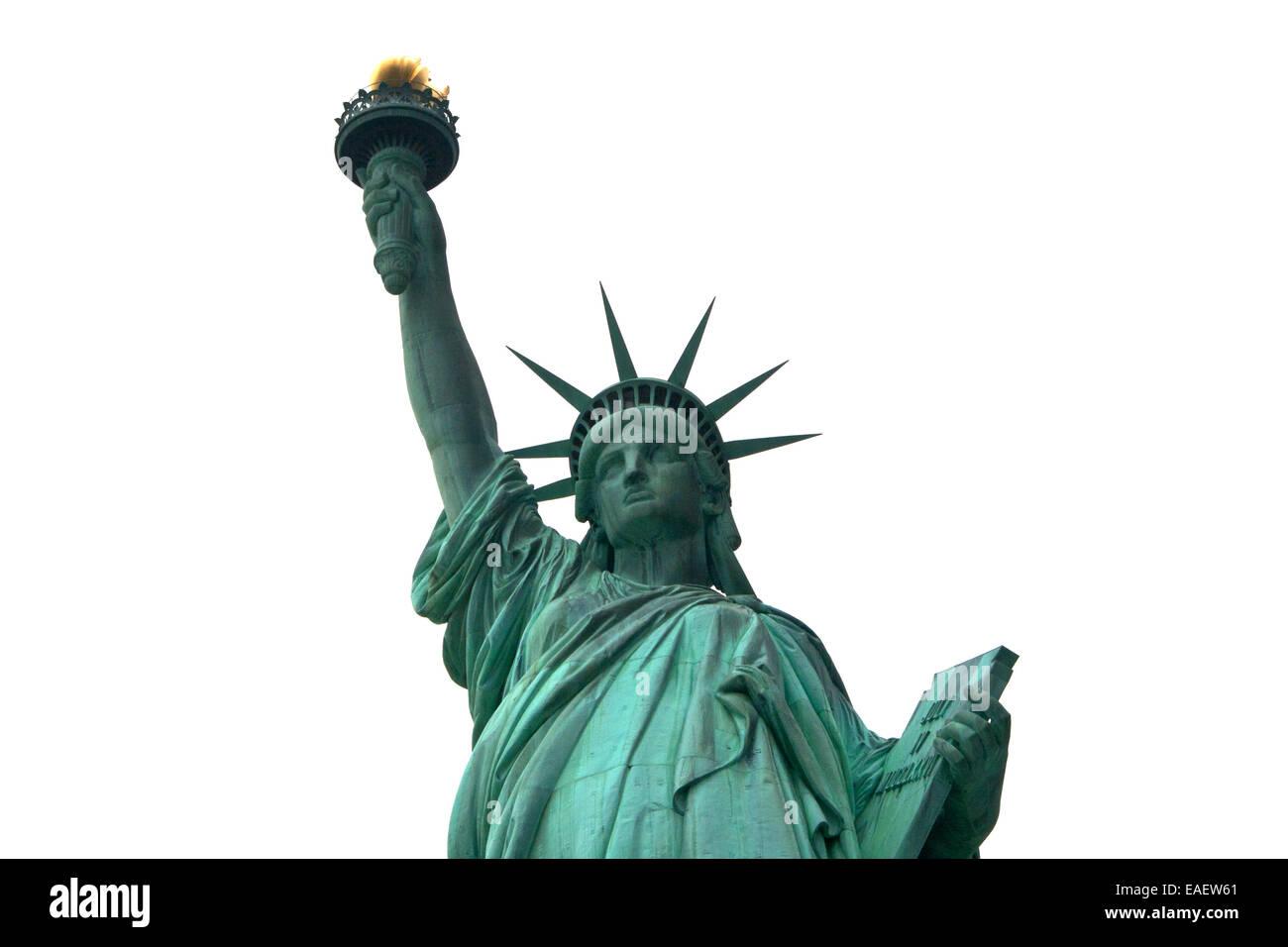 Freiheitsstatue Statue of Liberty New York Manhatten USA Architektur Wahrzeichen Beruehmt Amerika Attraktion Crown - Stock Image