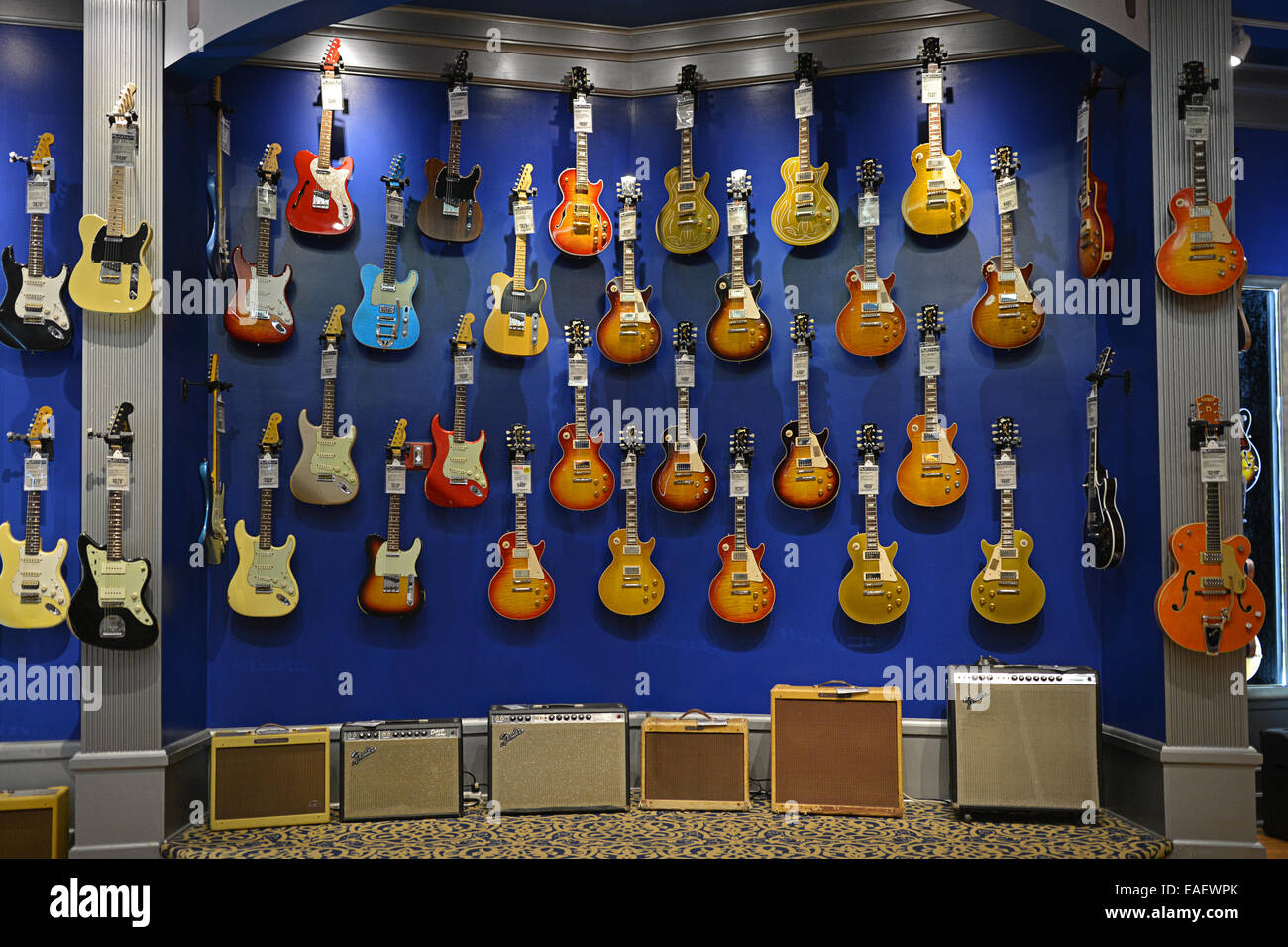 Vintage guitars and amplifiers for sale at the Guitar Center on West 14th Street in Manhattan, New York, City - Stock Image