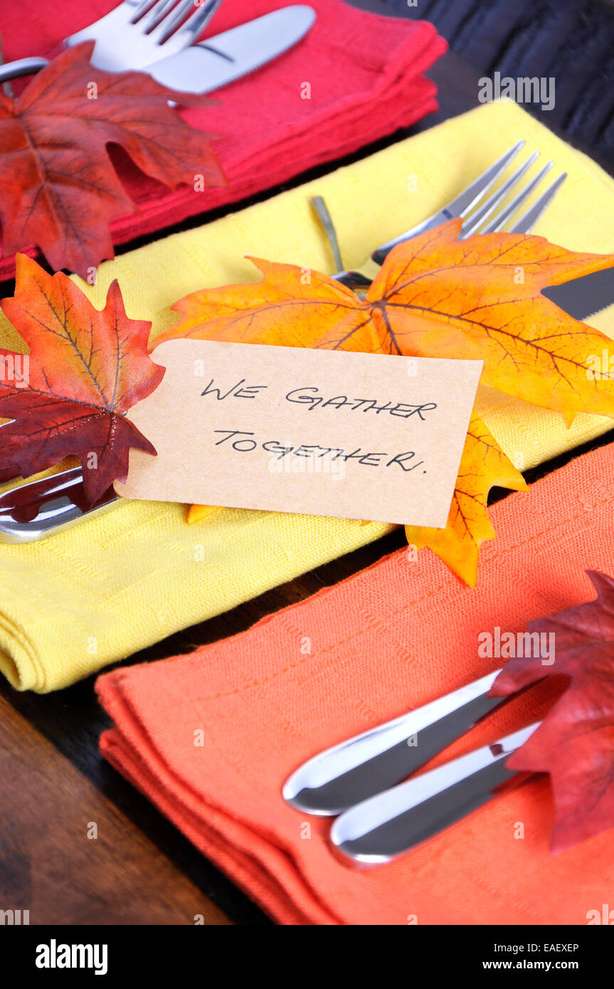 Happy Thanksgiving Table Place Setting With We Gather