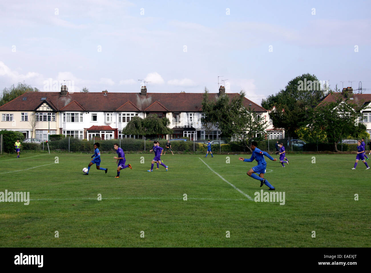 Sunday league football in a park in Wanstead, London - Stock Image