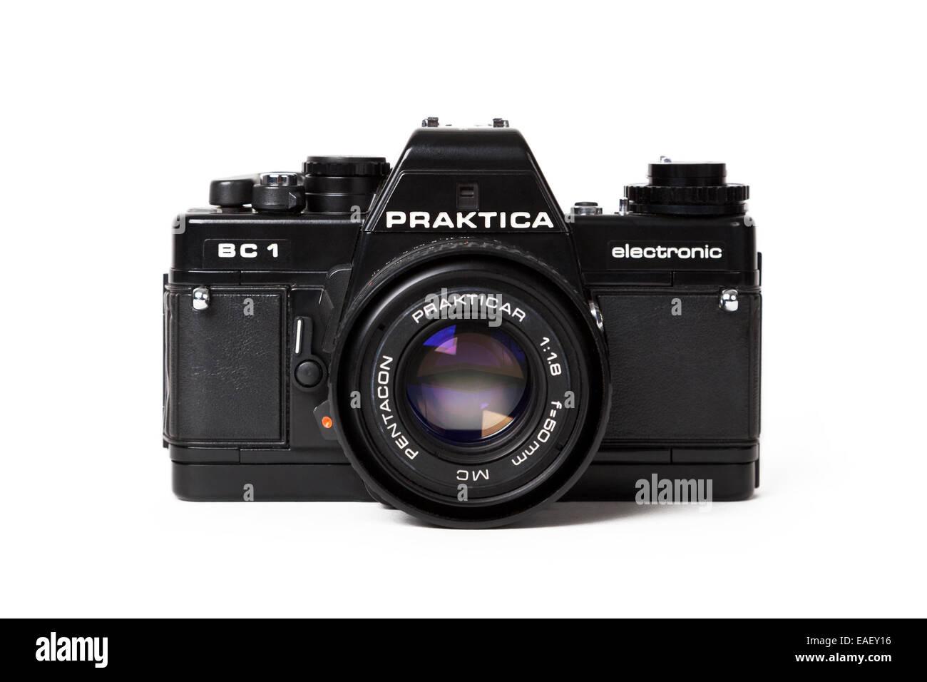 Old camera isolated on white - Stock Image