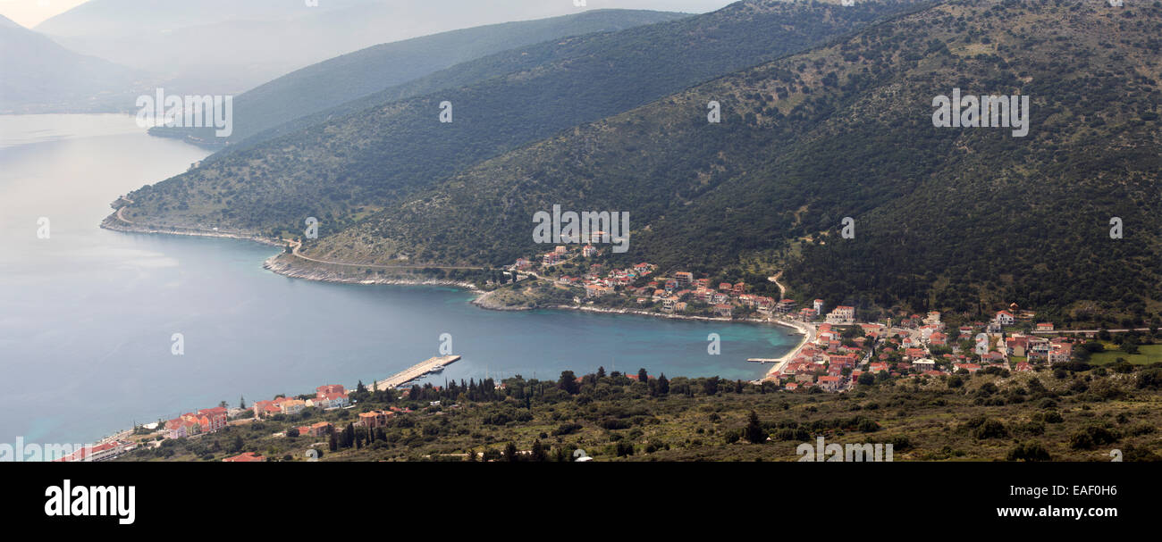 A panoramic photograph of the coastal town of Agia Efimia, Kefalonia, taken from the mountains above. Stock Photo
