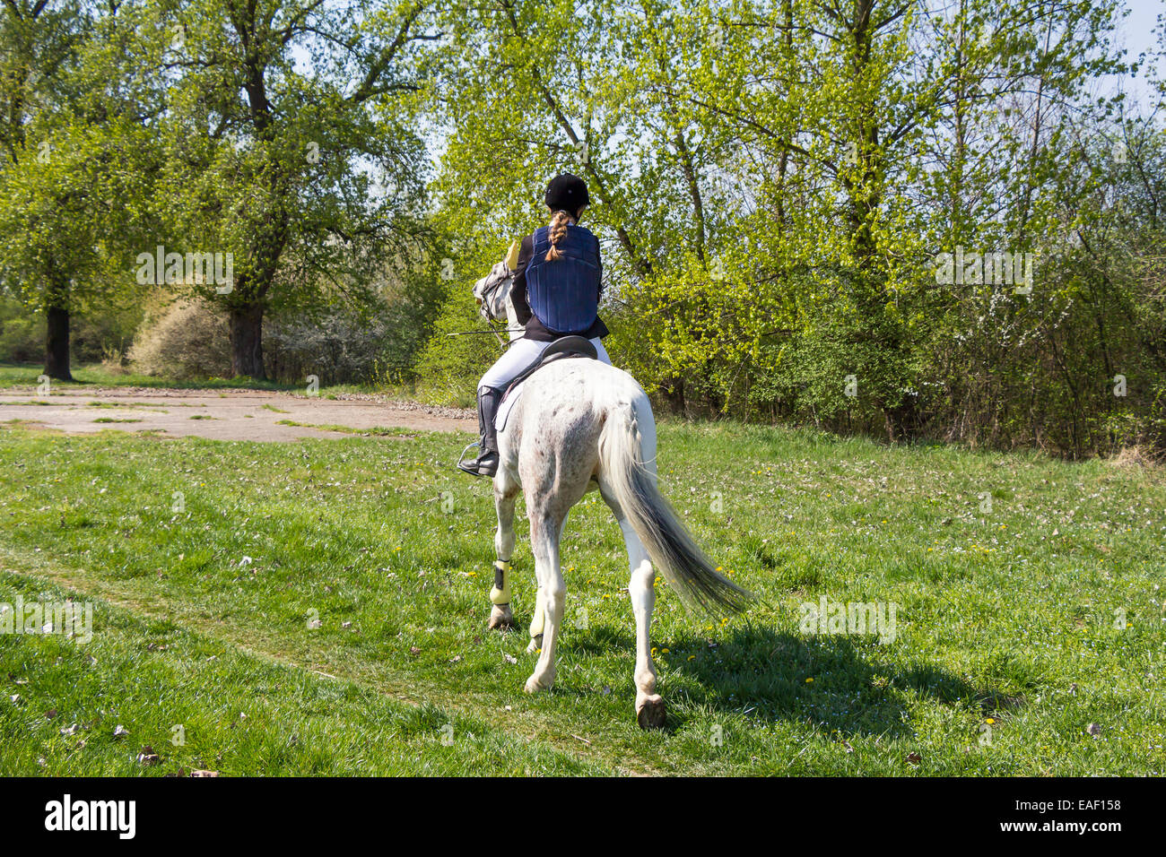 Young girl riding a horse in countryside - Stock Image