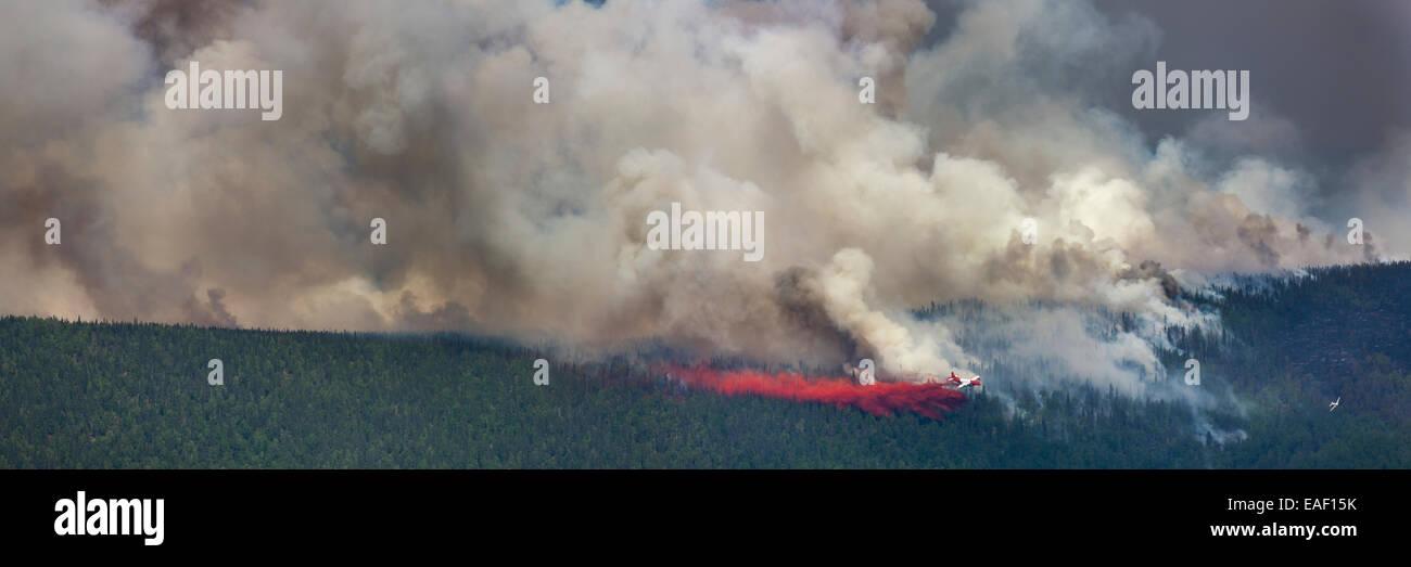Smoke,Alaska,Forest Fire,firefighting airplane Stock Photo