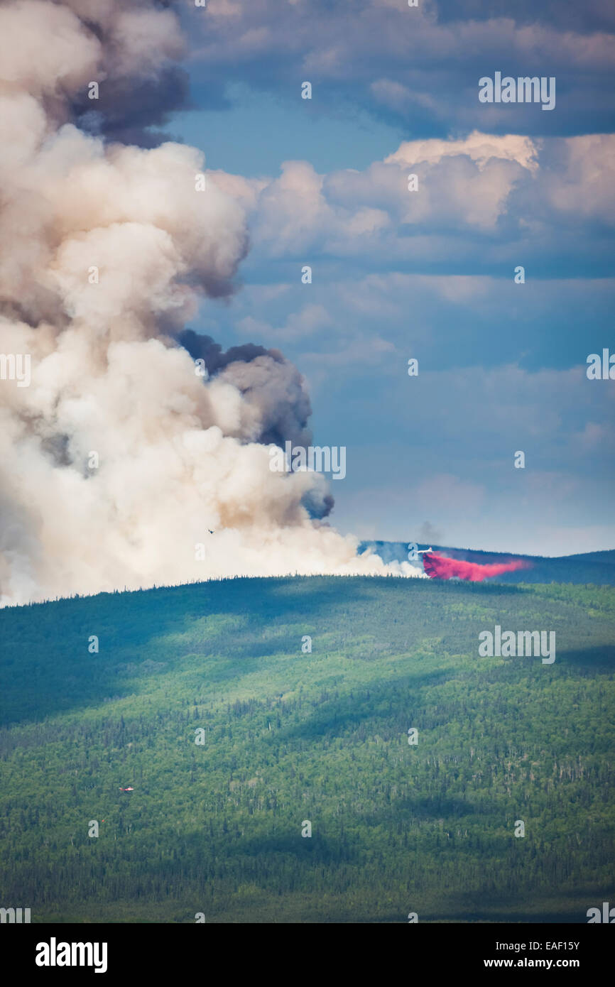 P3 aircraft dumps retardant to suppress the Hastings wildland forest fire near Murphy Dome north of Fairbanks, Alaska. Stock Photo