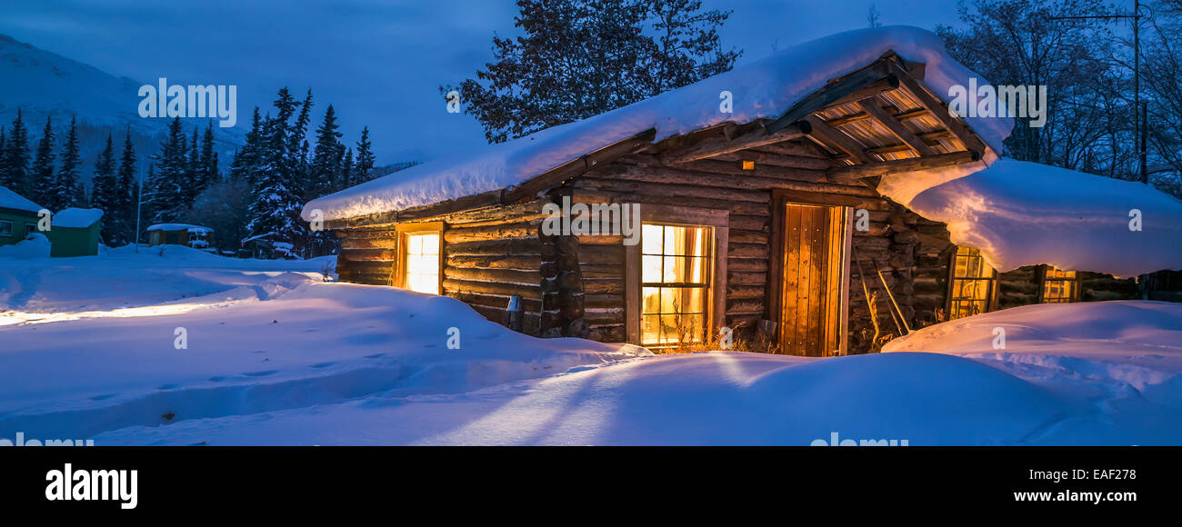Historic Log Cabin In Wiseman, Alaska   Stock Image