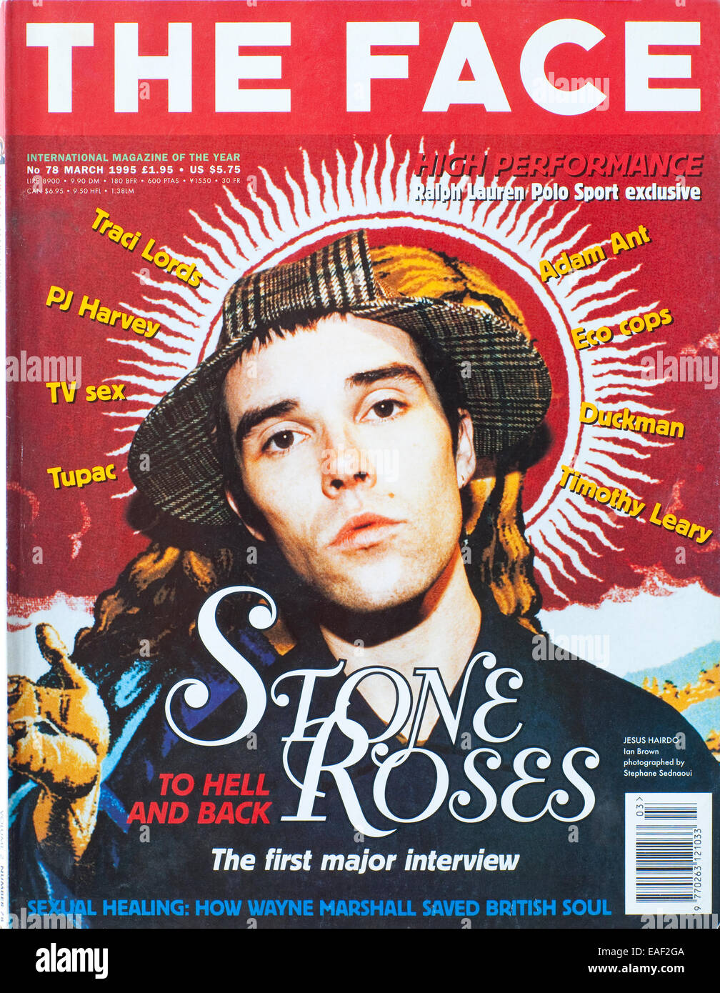 Front cover of The Face Magazine No 78,  March 1995 - Ian Brown of The Stone Roses - Stock Image