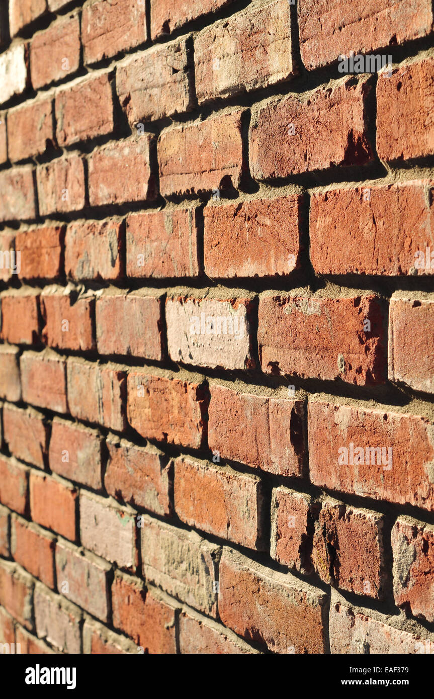 View of old brick wall form angle - Stock Image