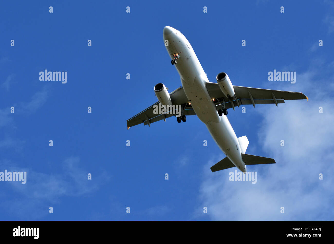 Commercial airplane flying in blue sky. concept photo travel transportation. copyspace - Stock Image