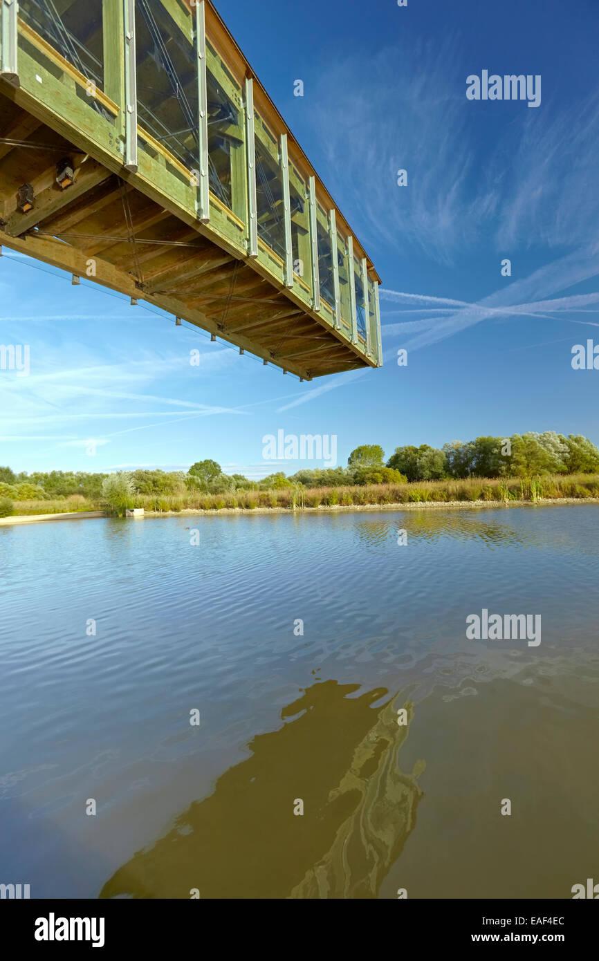 Cantilevered observation deck at the Ataria Interpretation Centre, Salburua wetlands park. Vitoria-Gasteiz. Alava - Stock Image