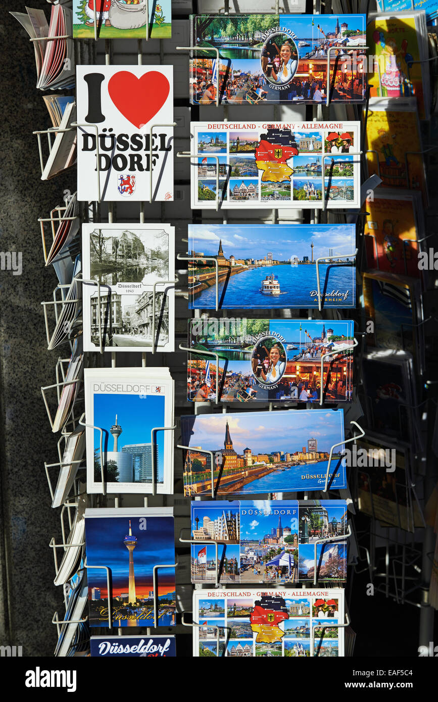 Postcards of Dusseldorf Germany - Stock Image