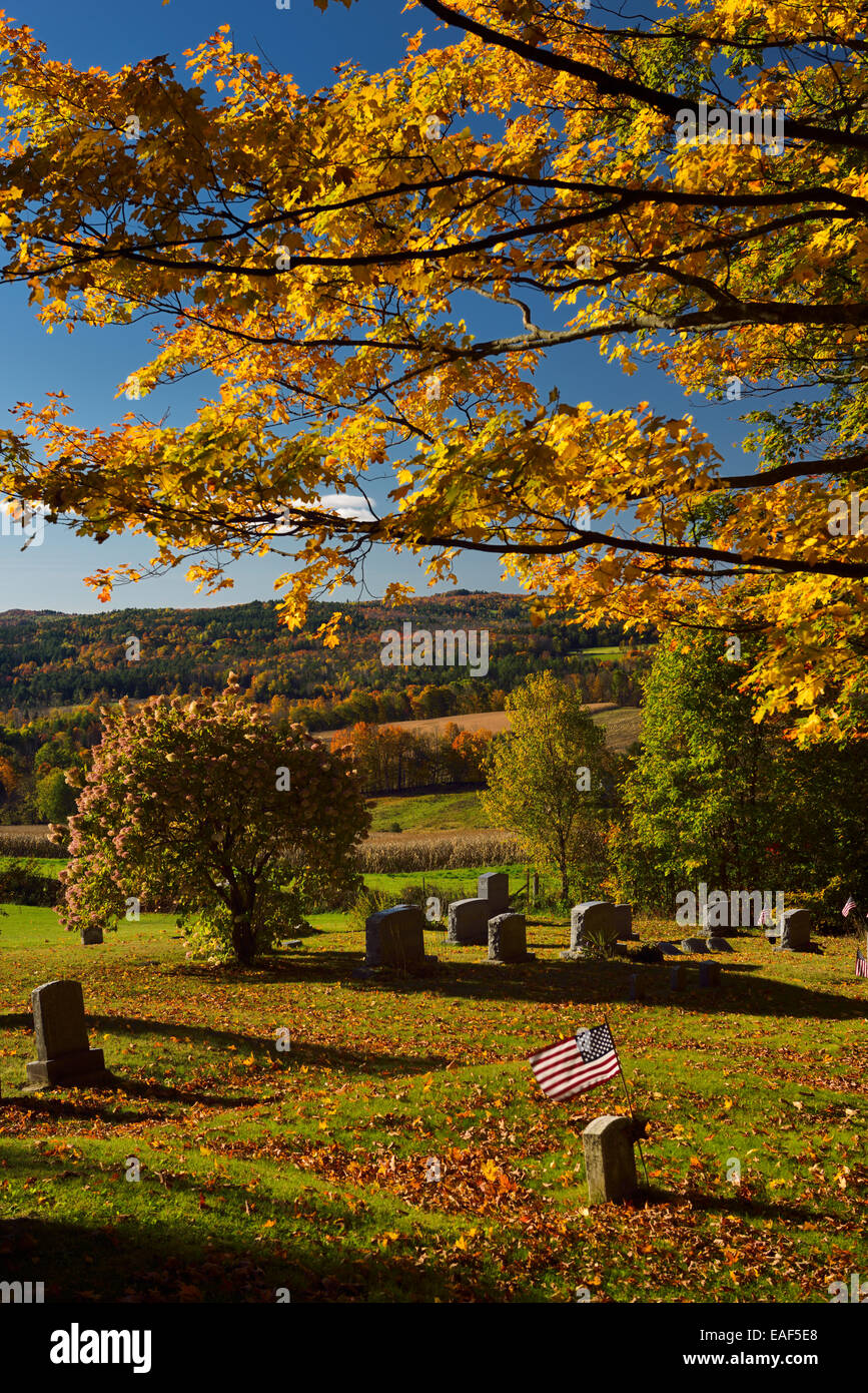 Gold maple leaves Hydrangea and American flag at Peacham Corner Cemetery Vermont USA in the Fall - Stock Image