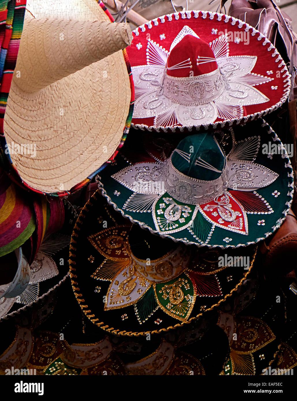 Mexican Sombreros Mercado Benito Juarez Oaxaca - Stock Image