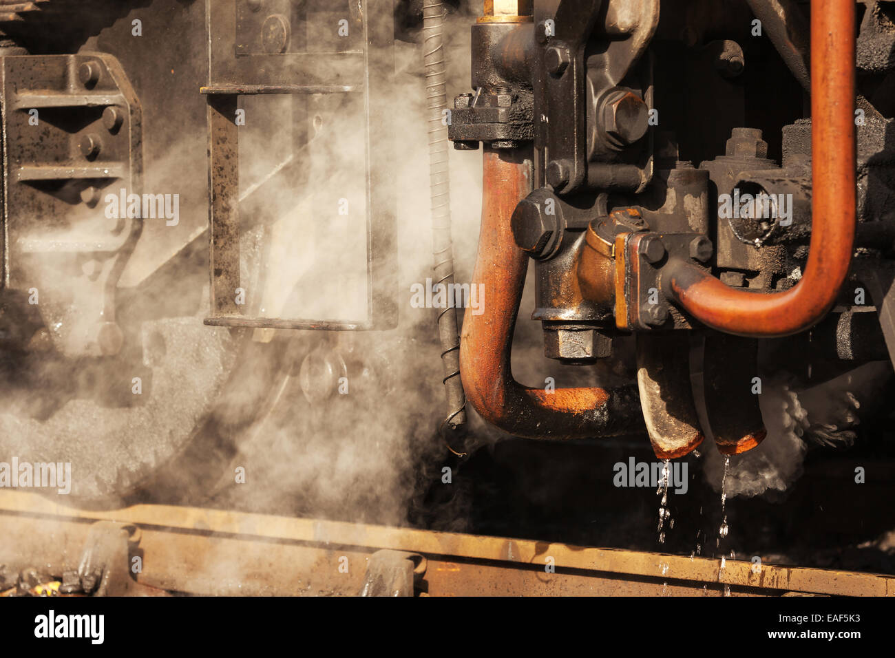 Undercarriage of a steam engine train - Stock Image