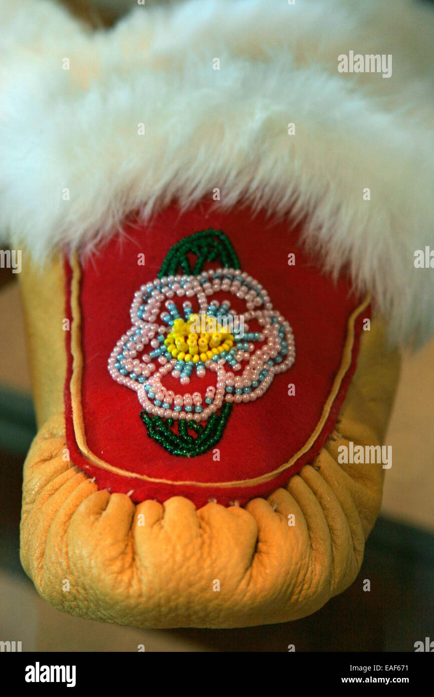 Native American Indian beading moccasin Stock Photo