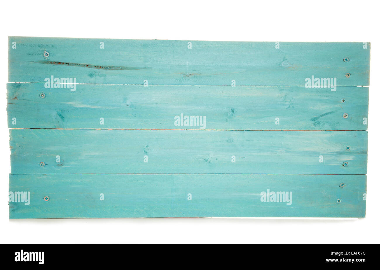 rustic turquoise wooden pallet sign cutout - Stock Image