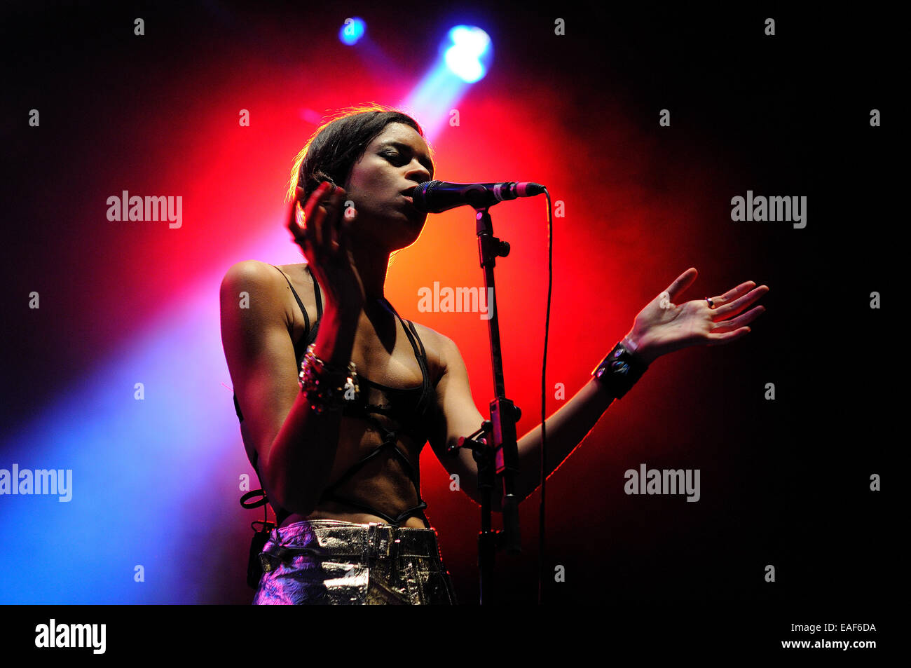BENICASIM, SPAIN - JULY 21: AlunaGeorge, English electronic music duo, concert performance at FIB. - Stock Image