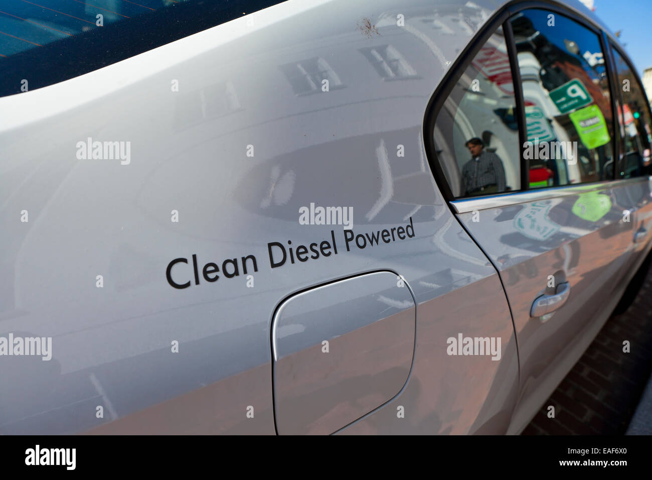 Clean Diesel Powered sign on car - USA - Stock Image