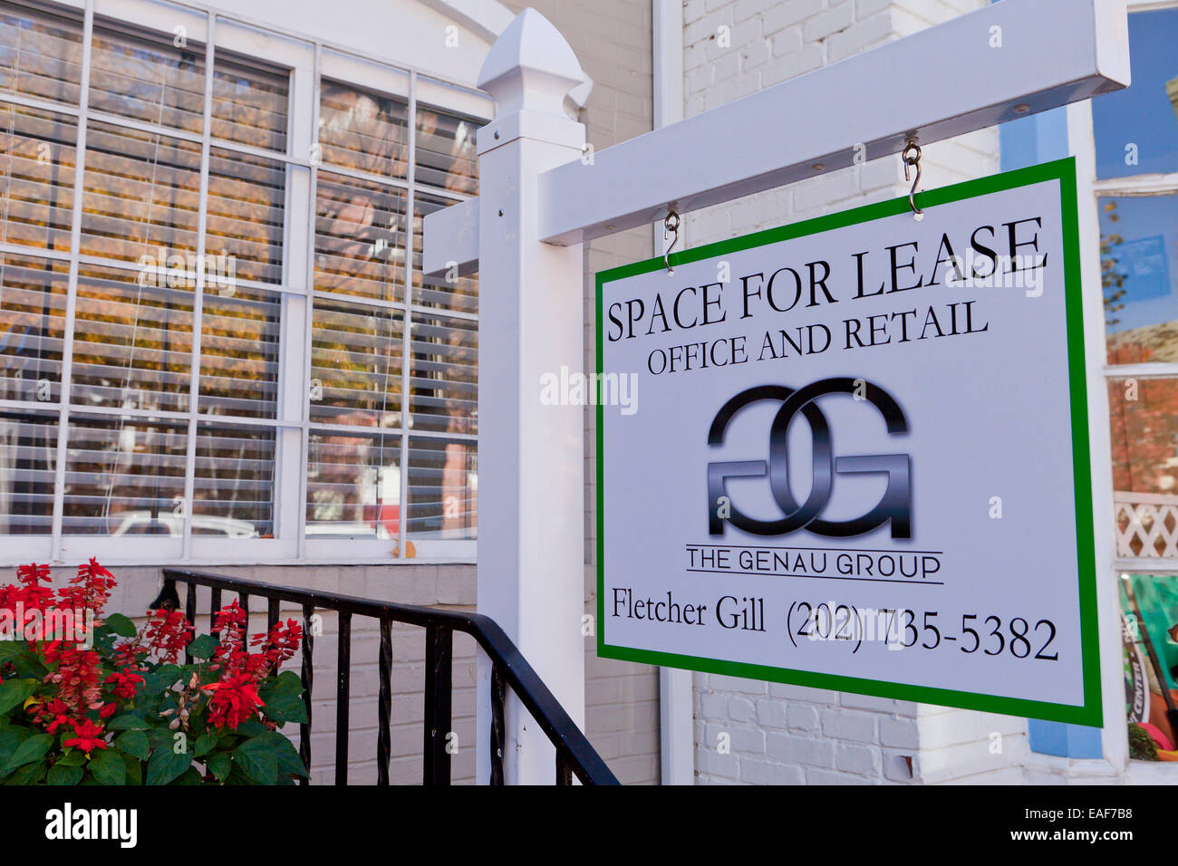 Commercial space for lease sign - Washington, DC USA - Stock Image