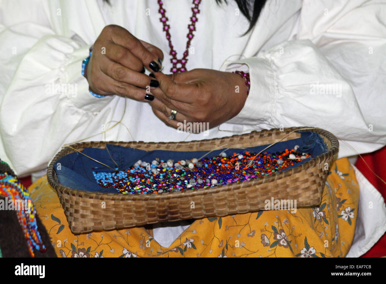 Native American Indian beading by hand - Stock Image