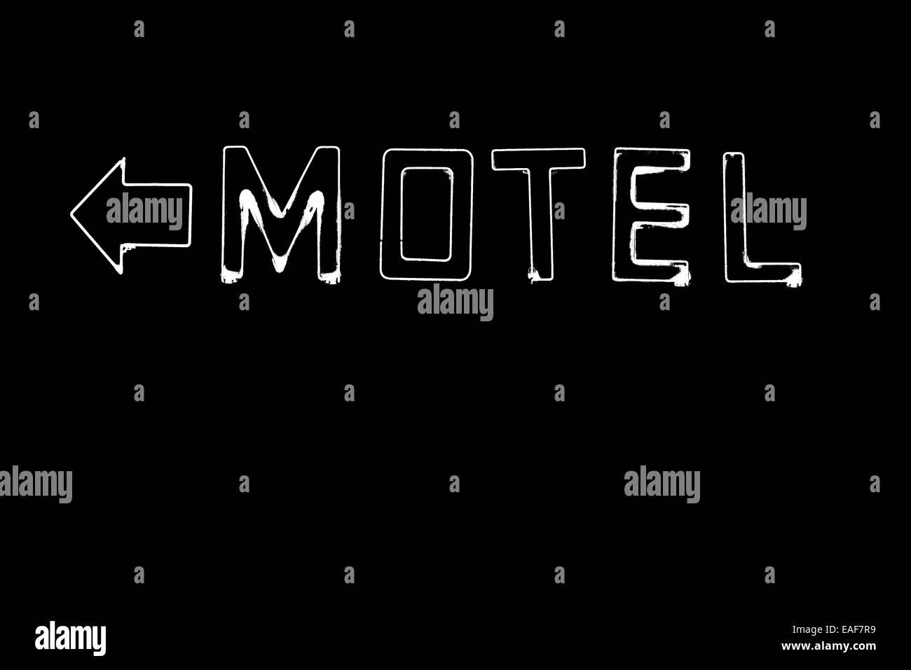 Neon motel sign lit up at night, Walla Walla, Washington. - Stock Image