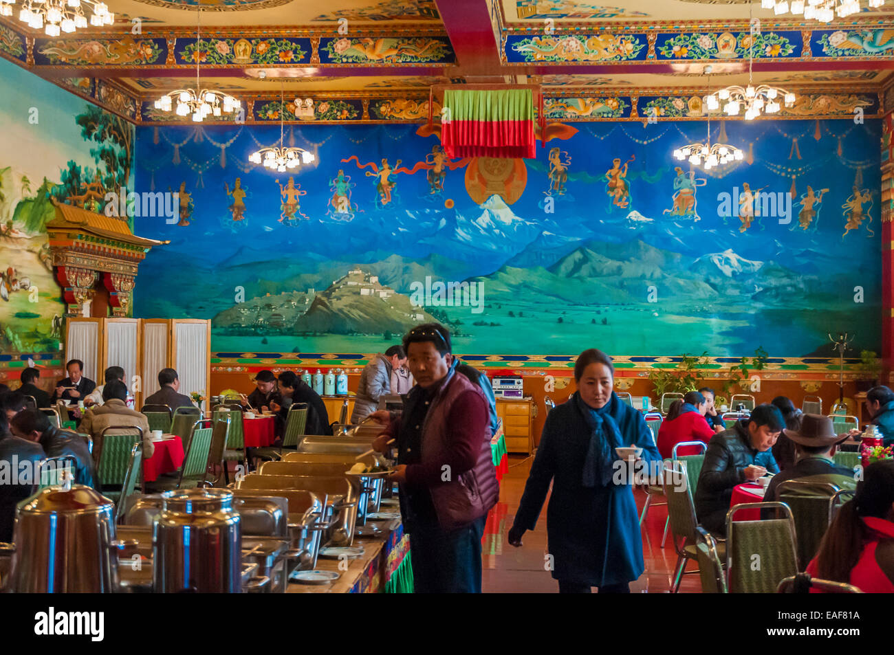 Dining room at the Gyantse Hotel at Gyantse, Tibet, China - Stock Image
